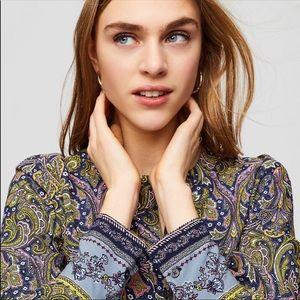 Ann Taylor LOFT Paisley Half Button Up Shirt